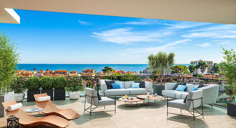 Real estate France, Cagnes sur Mer, Nice, French Riviera, apartment new built residence, terrace, sea view city center