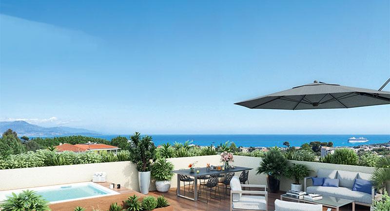 Antibes - Juan les Pins - Flotte lejligheder med fantastisk havudsigt i et roligt boligområde...