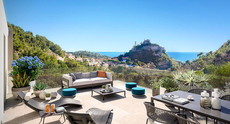 Eze - Beautiful apartment with sea and medieval village view ...